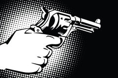 Stock illustration. Hands of people in the style of pop art and old comics. Weapon in hand, and the sound of the shot Stock Images