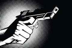 Stock illustration. Hands of people in the style of pop art and old comics. Weapon in hand, and the sound of the shot.  stock illustration
