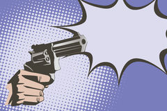 Stock illustration. Hands of people in the style of pop art and old comics. Weapon in hand, and the sound of the shot Royalty Free Stock Photography