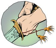 Hands with a samurai sword. Stock illustration. Stock Photos