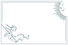 Stock illustration. Line graphic. Cute little girl on a swing. A smiling sun.  Royalty Free Stock Image