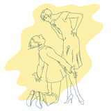 Stock illustration. Line graphic. Enamoured couple Royalty Free Stock Photography