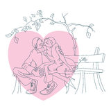 Stock illustration. Line graphic. Enamoured couple on a bench Stock Images