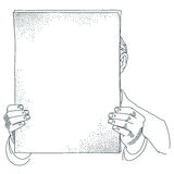 Stock illustration. A man holds a sheet of paper for your text Stock Photography
