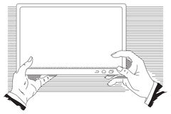 Stock illustration. Man holds tablet computer for your text.  Stock Photo