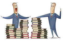 Stock illustration. A man named Bob and a stacks of books Stock Photography