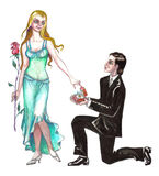 Stock illustration of Marriage Proposal. Hand drawn illustration of beautiful couple over white background . Man proposing woman to marry him vector illustration