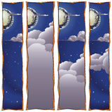 Stock illustration. Moon, clouds. Sweet dreams banner Stock Photography