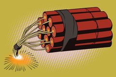 Stock illustration. Object in retro style pop art and vintage advertising. Dynamite with burning fuse Royalty Free Stock Image