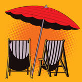 Stock illustration. Object in retro style pop art and vintage advertising. Parasol and deck chairs. Royalty Free Stock Photos