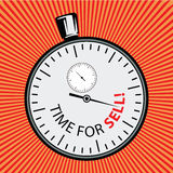 Stock illustration. Object in retro style pop art and vintage advertising. Stopwatch. Time for sell. Royalty Free Stock Photos