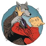 Angry man holds a woman by hand. Wolf and cat. People in images. Stock illustration. People in images of animals. Angry man holds a woman by hand. Wolf and cat Royalty Free Stock Photo