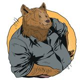 Confident cool man. Bear in shirt. People in images of animals. stock illustration