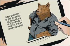 Confident cool man. Bear in shirt. People in images of animals. royalty free illustration