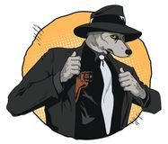 Confident cool man with gun. Wolf is a boss of mafia. People in. Stock illustration. People in images of animals. Confident cool man with gun. Wolf is a Royalty Free Stock Photo