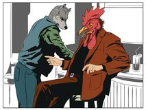 Talking men. Wolf and cock. People in images of animals. Stock illustration. People in images of animals. Talking men. Wolf and cock stock illustration