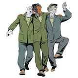 Three cheerful guys sing songs. People in images of animals. Stock illustration. People in images of animals. Three cheerful guys sing songs stock illustration