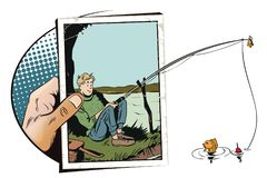 Funny fisherman with fishing rod. Stock illustration. Royalty Free Stock Photo