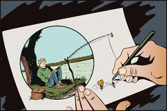 Funny fisherman with fishing rod. Stock illustration. Stock Photos