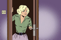 Stock illustration. People in retro style pop art and vintage advertising. Girl peeks in the door Stock Images