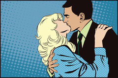 Stock illustration. People in retro style pop art and vintage advertising. Kissing couple Stock Photography