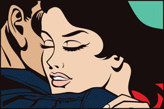 Stock illustration. People in retro style pop art and vintage advertising. Kissing couple Stock Images