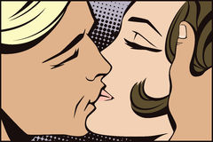 Stock illustration. People in retro style pop art and vintage advertising. Kissing couple. Stock Photos