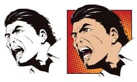 Rage men screaming. Stock illustration. Stock illustration. People in retro style pop art and vintage advertising. Rage men screaming Stock Photos