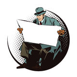 Stock illustration. People in retro style pop art and vintage advertising. Seated Man with newspaper. Newspaper for your text Royalty Free Stock Photo