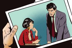 Woman is flirting with a guy at work. Stock illustration. People Stock Image