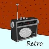 Stock Illustration Retro radio with antenna, on old background, Stock Image