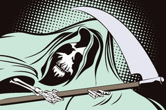 Stock illustration in retro style pop art and vintage advertising. Grim Reaper Stock Photography