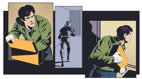 Robber with mysterious suitcase. Stock illustration stock images