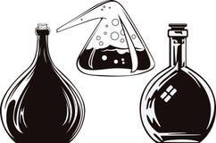 Stock illustration. Set Alchemy bottle Stock Image