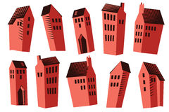 Stock illustration. A set of nice houses for design the project Royalty Free Stock Photos