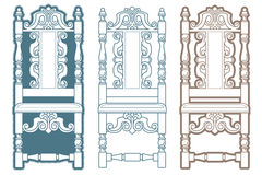 Stock illustration. Set of vintage chairs Royalty Free Stock Photo