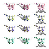 Stock Illustration of Shopping Carts. Different shopping carts with shadow effects , isolated icon illustration over white background royalty free illustration