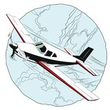 Small plane flying above clouds. Royalty Free Stock Photo