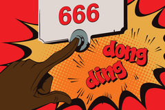 Stock illustration. Style of pop art and old comics. Doorbell Satan. Stock Image