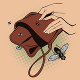 Stock illustration. Style of pop art and old comics. Flies fly out from empty handbag Royalty Free Stock Photo
