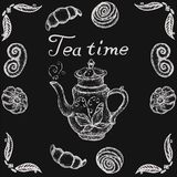 Stock Illustration Tea time with retro teapot and patterned vector image stock illustration