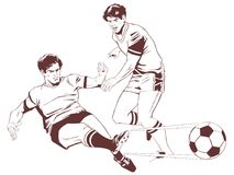 Soccer players. Stock illustration. Royalty Free Stock Images