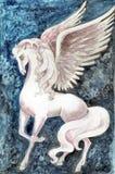 Stock illustration of White Pegasus. Hand drawn illustration of white pegasus over blue fantasy background vector illustration