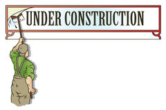 Stock illustration. Workman glues advertisement Stock Image