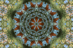 Stock image of Autumn Kaleidoscope. Beautiful bright kaleidoscope with dry leaves and pine tree .Great background for your autumn or winter projects stock illustration