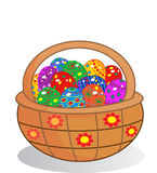 Easter egg basket Stock Images