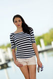 Stock image beautiful model in stripes Royalty Free Stock Images