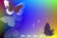 Stock Image of Binary Code Butterflies as IT Concept. Abstract bright illustration with binary code , butterflies , dollar and information sign vector illustration