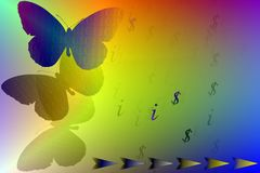 Stock Image of Butterflies with Binary Code as IT Concept. Abstract illustration of butterflies with binary code mirror reflection , arrows and dollar vector illustration