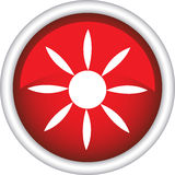 Round sign with a picture of the sun Stock Images